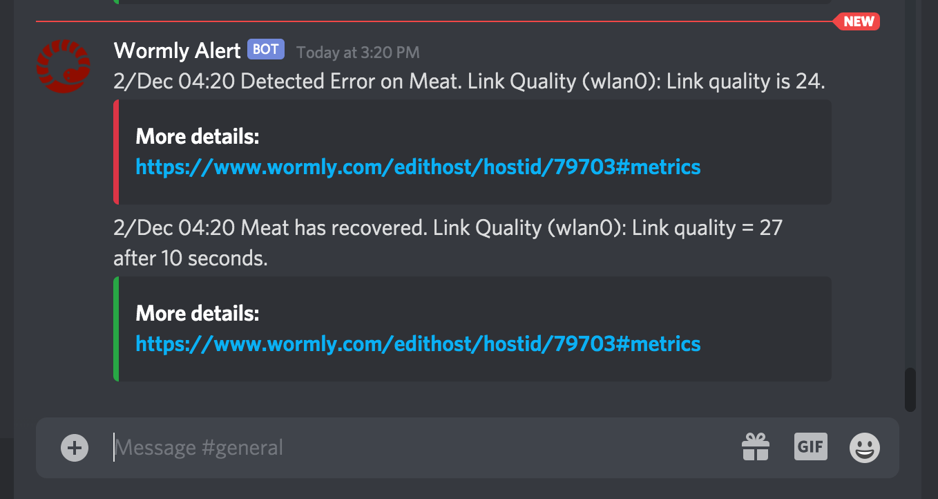 Discord Chat Downtime Alert