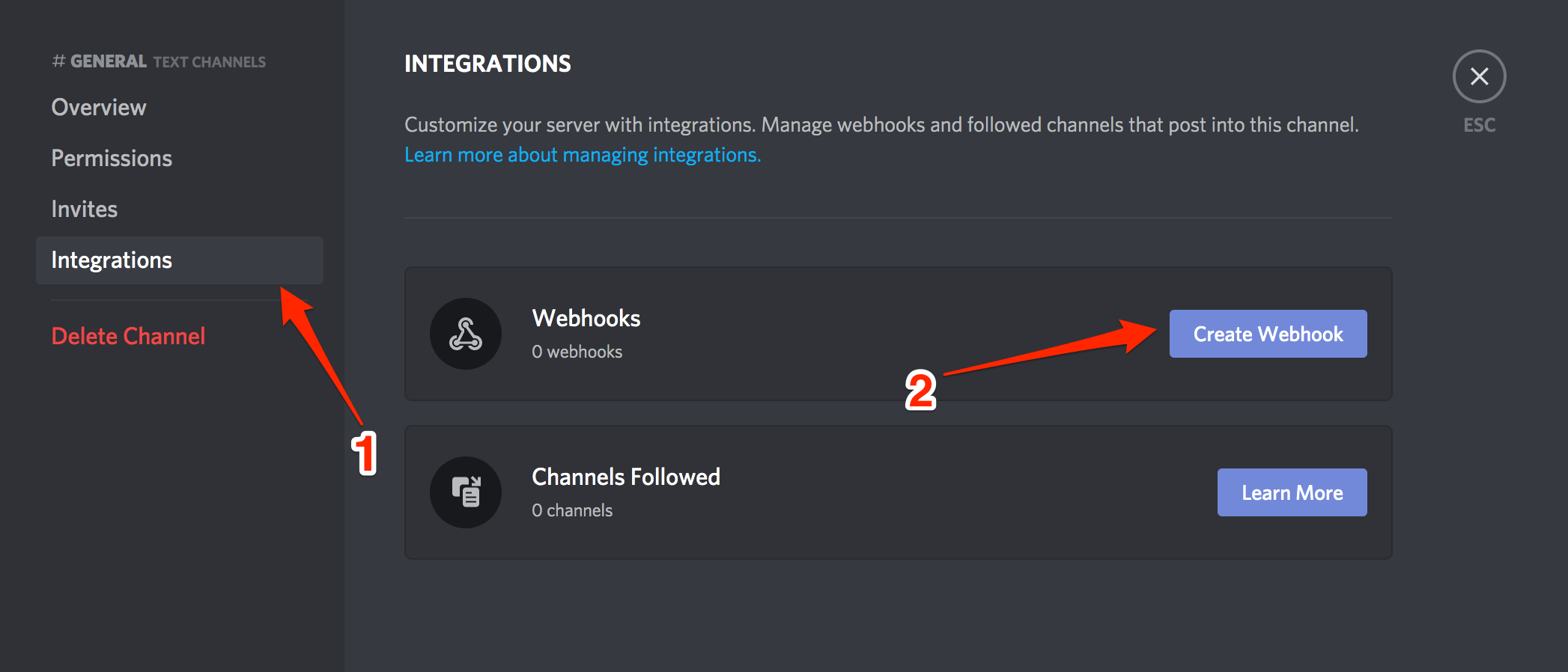 Discord Integrations Create Webhook