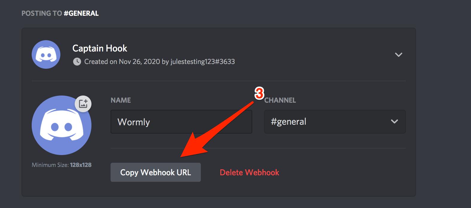 Copy Discord Webhook URL