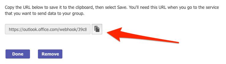 Copy Microsoft Teams Webhook URL